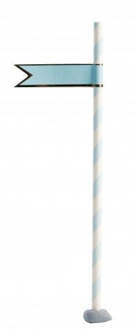 Sticker straw flagga blå med guldlinjer