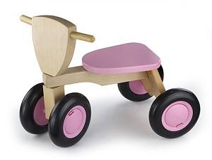 Trehjuling -trä, rosa