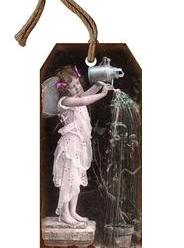 Viktoriansk flicka med vattenkanna liten metall tag handgjord romantisk skylt shabby chic lantlig stil