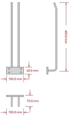 Glashängare, 40 cm, Krom, Tak