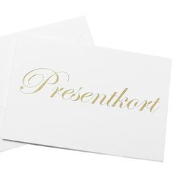 Presentkort i olika valörer från 150 kr till 1500 kr