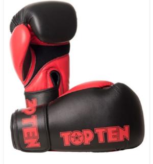 Topten Boxningshandske XLP, Svart/Röd 10-14 oz