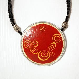 Klimt red ostrich egg necklace