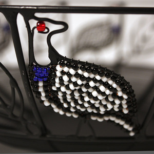 Wrought iron bowl, Guinea fowl with pearls