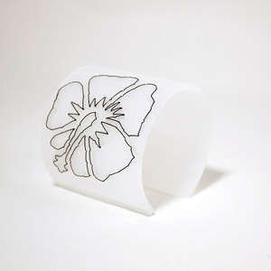 Cuff Stitched, white Hibiscus 60 mm