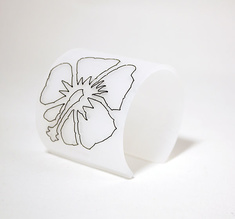 Cuff Stitched, white Hibiscus 60 mm