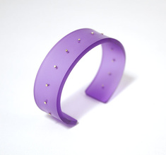 Cuff, silver dots aurora violet, 20 mm