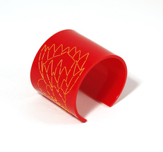 Cuff Stitched, red Protea, 60 mm