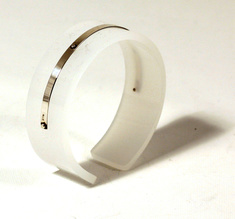 Cuff silver strip, pale white 20 mm