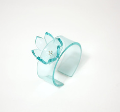 Cuff rose clear aqua, 20 mm