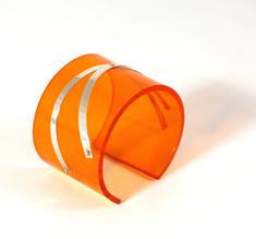 Armband Silver strips, orange 50 mm