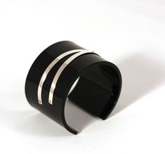 Cuff silver strips, black 50 mm