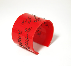 "Cuff Stitched, red  ""you´re my favourite waste of time"" 50 mm"