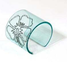 Cuff Stitched, clear aqua Hibiscus 60 mm