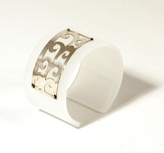 Cuff, Spikey Flower, silver and white, 50 mm