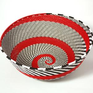 Skål telefontråd vit & svart & röd