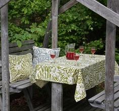 Botanical Zebra Tablecloth, Wasabi green
