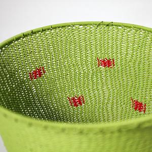 Skål telefontråd lime med röda prickar