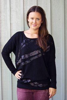 Culture - Molina Knit Long Blouse Light Black