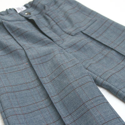 Trousers Flare, Blue Checkered