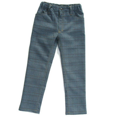 Trousers Slim, Blue Checkered