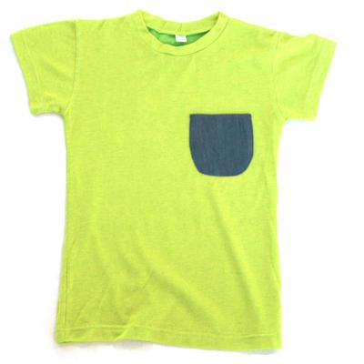 T-shirt, green with denim pocket