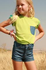T-shirt med ficka, lime