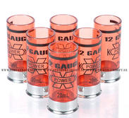 12 Gauge 20ml Shotgun shell shot glasses, 6st, Röd