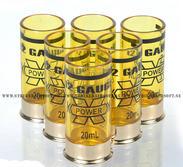 12 Gauge 20ml Shotgun shell shot glasses, 6st, Gul