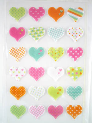 Hearts with pattern, felt