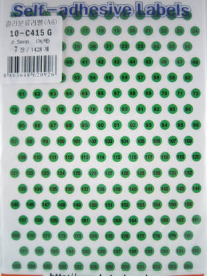 Numbers 1-204, green
