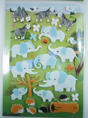 Elephants, Zebra, Hedgehog, felt