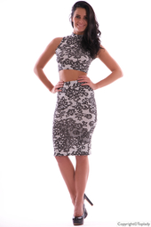 Trendigt mönstrat set | top & knälång kjol