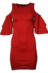 Vinröd festklänning med volanger