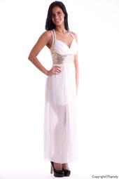 Glamorös vit studentklänning