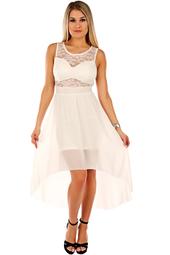 Elegant vit chiffongklänning