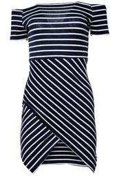 Marinblå axelbandslös klänning