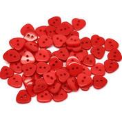 10 st röda hjärtan, knappar
