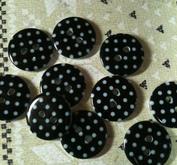 Prickiga knappar - Svart 18 mm