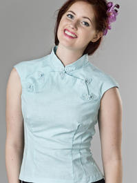 the Shanghai sweetie top. mint blue