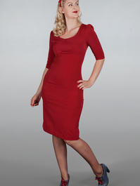 The golden days wiggle dress. Red bengaline