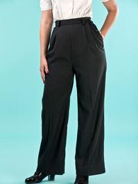 the casual voyager slacks. black pinstripe