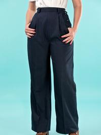 the casual voyager slacks. navy pinstripe