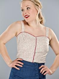 the 50's beach top. Cream white, colour dots
