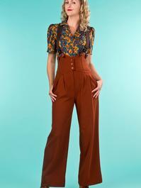 the miss fancy pants slacks. cinnamon jacquard