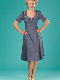 the lovely lindy dress. navy weave