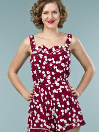 the countryside cutie playsuit. tulips in wine