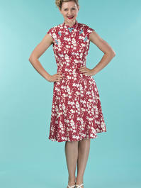 the Shanghai sweetie dress. red floral
