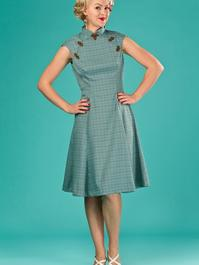 the Shanghai sweetie dress. blue/green/brown