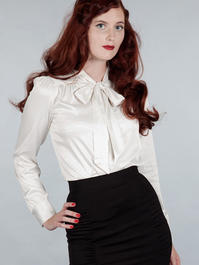 The sassy secretary blouse. White satin